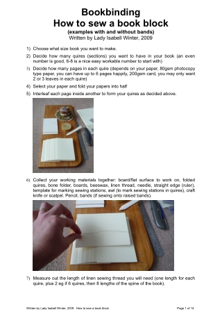 Bookbinding How to sew a book block