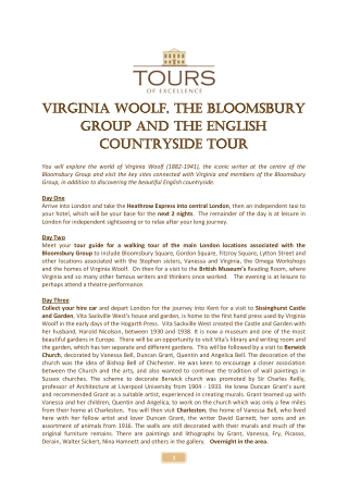 Virginia Woolf Virginia Woolf, the group group and the countryside t countryside tour , the Bloomsbury Bloomsbury and the English English our