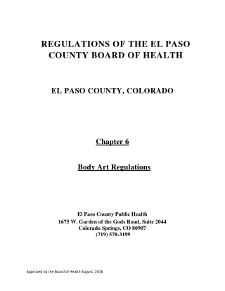 REGULATIONS OF THE EL PASO COUNTY BOARD OF HEALTH