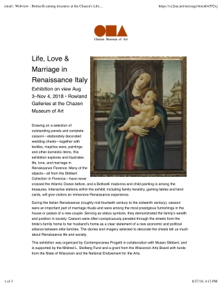 Life, Love & Marriage in Renaissance Italy