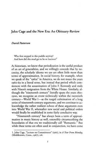 John Cage and the New Era: