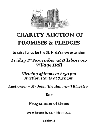 CHARITY CHARITY AUCTION OF AUCTION OF PROMISES & PLEDGES PROMISES & PLEDGES