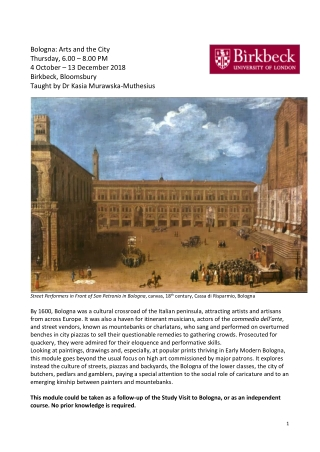 Bologna: Arts and the City Thursday, 6.00