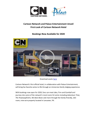 Cartoon Network and Palace Entertainment Unveil First-Look of Cartoon Network Hotel Bookings Now Available for 2020