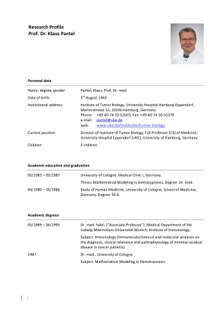 Research Profile Prof. Dr. Klaus Pantel