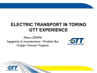 ELECTRIC TRANSPORT IN TORINO GTT EXPERIENCE