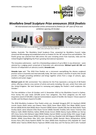 Woollahra Small Sculpture Prize announces 2018 finalists