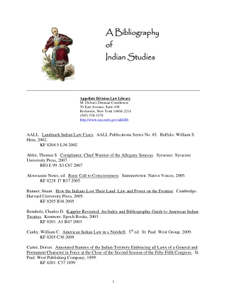 A Bibliography of Indian Studies A Bibliography of Indian Studies
