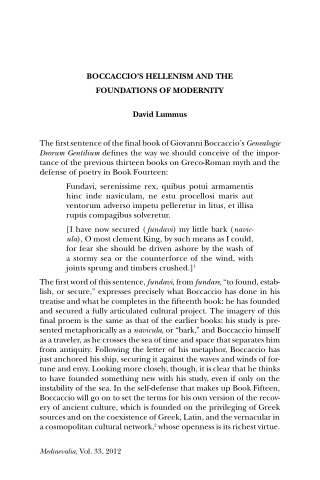 BOCCACCIO'S HELLENISM AND THE FOUNDATIONS OF MODERNITY David Lummus