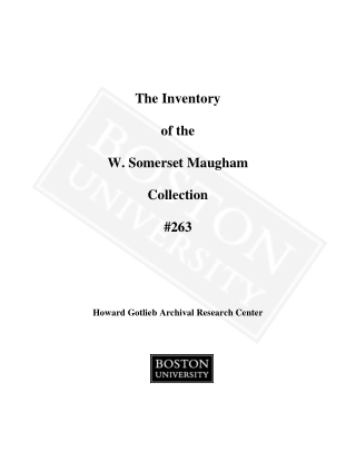 The Inventory of the W. Somerset Maugham Collection #263