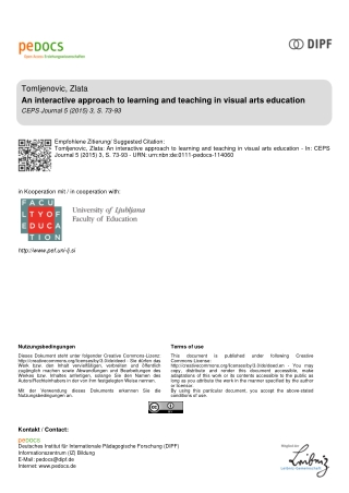 An interactive approach to learning and teaching in visual arts education