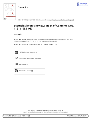 Scottish Slavonic Review: Index of Contents Nos. 1–21 (1983–93)