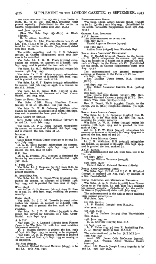 SUPPLEMENT TO THE LONDON GAZETTE; 17 SEPTEMBER, 1943