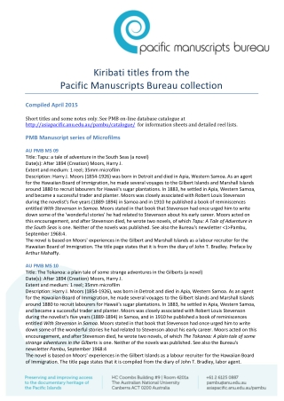 Kiribati titles from the Pacific Manuscripts Bureau collection