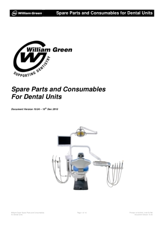 Spare Parts and Consumables For Dental Units