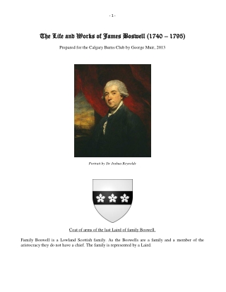 The The Life and W Life and Works of James Boswell (1740 orks of James Boswell (1740