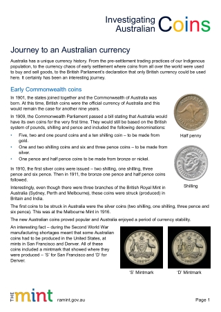 Journey to an Australian currency