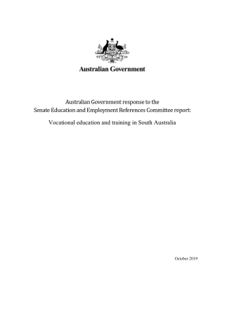 Australian Government response to the Senate Education and Employment References Committee report: