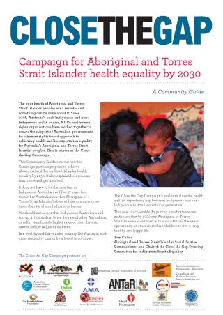 Campaign for Aboriginal and Torres Strait Islander health equality by 2030