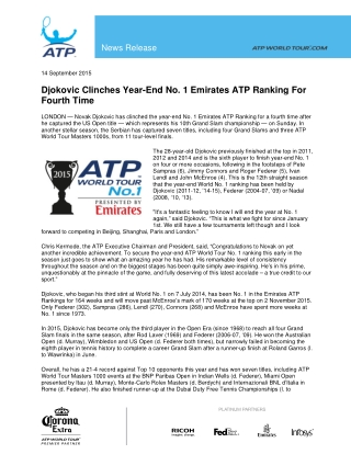 Djokovic Clinches Year-End No. 1 Emirates ATP Ranking For Fourth Time