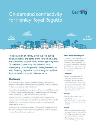 On-demand connectivity for Henley Royal Regatta