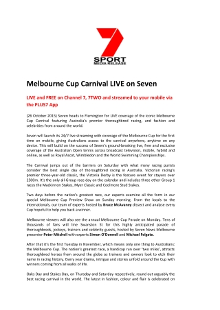 Melbourne Cup Carnival LIVE on Seven