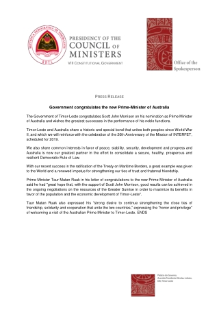 Government congratulates the new Prime-Minister of Australia