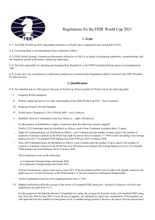 Regulations for the FIDE World Cup 2021