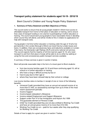 Transport policy statement for students aged 16-19 - 2018/19