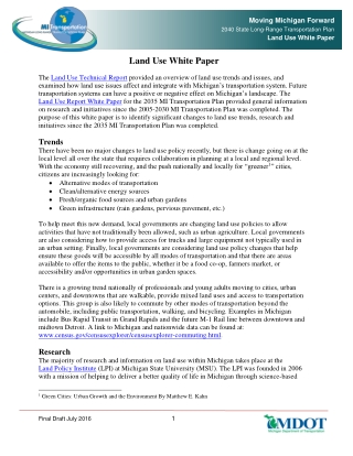 Land Use White Paper
