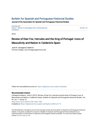 Bulletin for Spanish and Portuguese Historical Studies Bulletin for Spanish and Portuguese Historical Studies