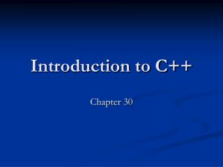 Prologue to C++
