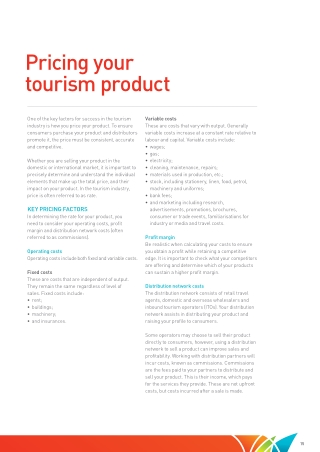 pricing your tourism product