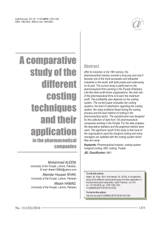 A comparative study of the different costing techniques and their application