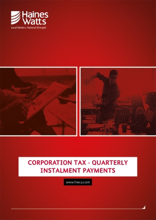 CORPORATION TAX - QUARTERLY INSTALMENT PAYMENTS