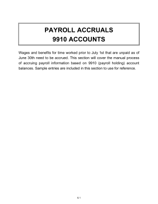 PAYROLL ACCRUALS 9910 ACCOUNTS