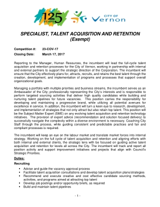 SPECIALIST, TALENT ACQUISITION AND RETENTION (Exempt)