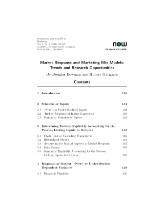 Market Response and Marketing Mix Models: Trends and Research Opportunities
