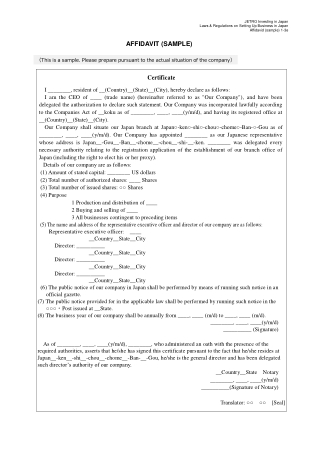 AFFIDAVIT (SAMPLE)