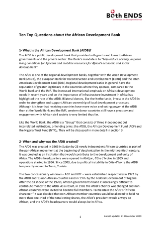 Ten Top Questions about the African Development Bank