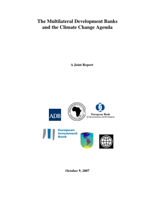 The Multilateral Development Banks and the Climate Change Agenda