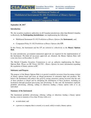 CSA Multilateral Notice of Multilateral Instrument 91-102