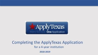 Completing the ApplyTexas Application