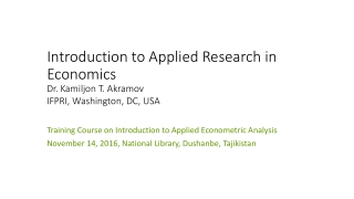Introduction to Applied Research in Economics