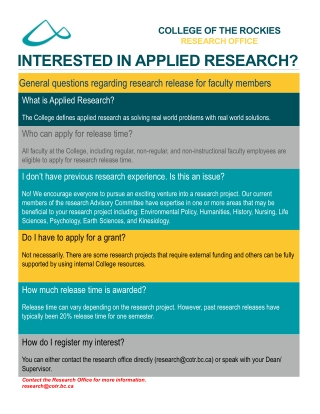 INTERESTED IN APPLIED RESEARCH?