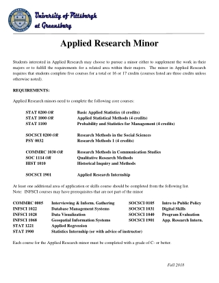 Applied Research Minor