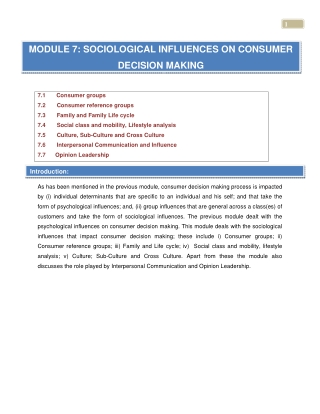 MODULE 7: SOCIOLOGICAL INFLUENCES ON CONSUMER DECISION MAKING