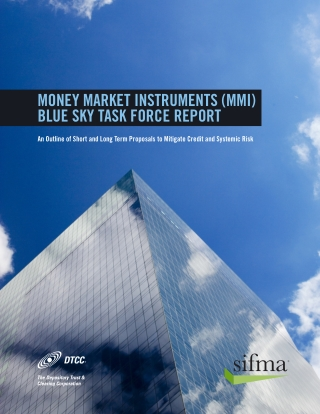Money Market InstruMents (MMI) Blue sky task force report