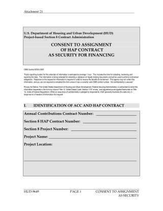 CONSENT TO ASSIGNMENT OF HAP CONTRACT AS SECURITY FOR FINANCING