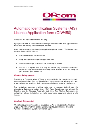 Automatic Identification Systems (AIS) Licence Application form (OfW450)